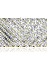 cheap -Women's Beading / Crystals PU Evening Bag Solid Color Black / Gold / Silver