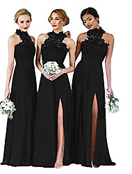 cheap -A-Line Halter Neck Floor Length Chiffon Bridesmaid Dress with Split Front
