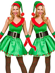 cheap -Christmas Trees Dress Women's Adults' Costume Party Christmas Christmas Polyester Dress / Gloves / Hat / Gloves