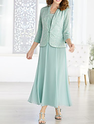 cheap -A-Line Scoop Neck Ankle Length Chiffon 3/4 Length Sleeve Wrap Included Mother of the Bride Dress with Ruching 2020