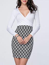 cheap -Women's Dress Work Basic Sheath Dress - Check Print Wrap White S M L XL