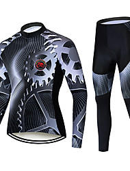 cheap -TELEYI Men's Long Sleeve Cycling Jersey with Tights Black Bike Thermal / Warm Windproof Quick Dry Winter Sports Solid Color Mountain Bike MTB Road Bike Cycling Clothing Apparel / Stretchy