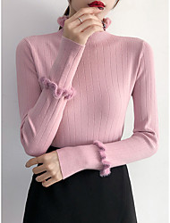 cheap -Women's Solid Colored Long Sleeve Pullover Sweater Jumper, Straight Neckline Fall / Winter Black / White / Blushing Pink One-Size