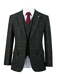 cheap -Forest green windownpane tweed wool custom suit