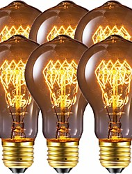 cheap -Edison Bulb Vintage Bulb 40W Dimmable  E26 / E27 A60(A19)  Squirrel Cage Filament Edison Lihgt Bulb for Home Light Fixtures Decorative  220-240 V / 110-130 V Pack of 6