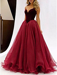 cheap -A-Line Sweetheart Neckline Floor Length Tulle Color Block Prom / Formal Evening Dress with Cascading Ruffles 2020