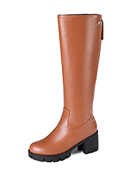 cheap -Women's Boots Chunky Heel Round Toe PU Knee High Boots Casual / British Fall & Winter Black / Brown / Beige