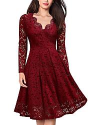 cheap -Women's Elegant A Line Dress - Solid Colored Lace V Neck Black Wine S M L XL