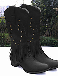 cheap -Women's Boots Low Heel Round Toe Rivet / Tassel PU Mid-Calf Boots Vintage / Casual Spring &  Fall / Fall & Winter Black / Brown / Party & Evening