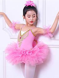 cheap -Ballet Dresses Girls' Party / Performance Polyester / Cotton / Organza Glitter / Split Joint Sleeveless Dress