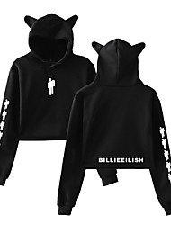 cheap -Inspired by Cosplay Billie Eilish Cosplay Costume Hoodie Pure Cotton Print Printing Fancy Hoodie For Women's