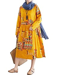 cheap -Women's Yellow Red Dress Vintage Chinoiserie Daily Wear Dress Shift Tribal Black & Red Lace up M L Loose