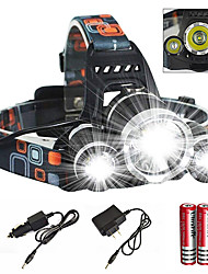 cheap -Headlamps Headlight Waterproof Zoomable 6000 lm LED Emitters 4 Mode with Charger with Batteries and Charger Waterproof Zoomable Rechargeable Super Light Camping / Hiking / Caving Cycling / Bike