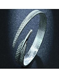 cheap -Women's Cuff Bracelet Geometrical Feather Fashion Silver-Plated Bracelet Jewelry Silver For Daily Work