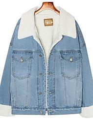 cheap -Women's Daily / Going out Active / Basic Winter Regular Jacket, Solid Colored Blue & White Shirt Collar Long Sleeve Cotton / Wool Blend Fur Trim Light Blue / Blue