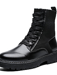 cheap -Men's Combat Boots Nappa Leather Fall & Winter Casual Boots Walking Shoes Non-slipping Black