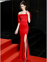 cheap -Mermaid / Trumpet Elegant Sexy Formal Evening Dress One Shoulder Half Sleeve Sweep / Brush Train Satin with Split Front 2020