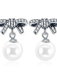 Недорогие -Серебряный цвет бант-сучка фирменные серьги имитация большой жемчужные серьги для женщин свадьба подарок ювелирных изделий