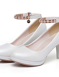cheap -Women's Heels Stiletto Heel Round Toe PU Fall & Winter Black / White / Pink