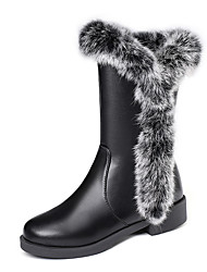 cheap -Women's Boots Snow Boots Low Heel Round Toe PU Mid-Calf Boots British / Preppy Fall & Winter Black / Gray