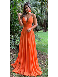 cheap -A-Line Spaghetti Strap Sweep / Brush Train Chiffon Cute / Elegant Formal Evening Dress with Pleats 2020