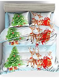 abordables -épouser ensemble de literie de noël santa claus cadeau imprimé 3d taie d'oreiller et housse de couette ensemble linge de lit rouge