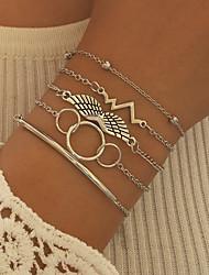 cheap -5pcs Women's Vintage Bracelet Bracelet Earrings / Bracelet Layered Wings Vertical / Gold bar Heart Rate Classic Vintage Trendy Ethnic Fashion Alloy Bracelet Jewelry Silver For Daily Street Holiday