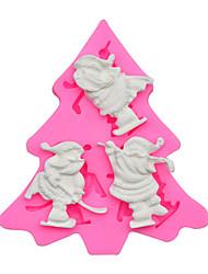 cheap -Christmas baking DIY baking tools 11 PCS three hole Santa Claus sugar cake butter cookies silicone mold