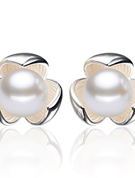 cheap -2020 New Korean Style Pearl Flower Stud Earrings For Women Fashion Summer 925 Silver Accessories Elegant Brinco Engagement