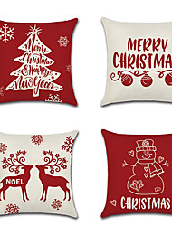 cheap -4 pcs Linen Pillow Cover, Quotes & Sayings Floral Print Traditional Christmas Throw Pillow