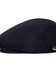 cheap -Men's Beret Hat Polyester Basic - Solid Colored Fall Black Khaki Navy Blue