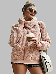 cheap -Women's Casual Sweatshirt - Solid Colored Blushing Pink S