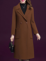 cheap -Women's Party / Work Vintage / Sophisticated Fall & Winter Long Coat, Solid Colored Peaked Lapel Long Sleeve Nylon Patchwork Wine / Camel / Brown