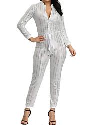 cheap -Women's Basic Black White Gold Jumpsuit, Solid Colored S M L