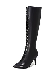 cheap -Women's Boots Stiletto Heel Pointed Toe PU Mid-Calf Boots Fall & Winter Black / Purple / Champagne