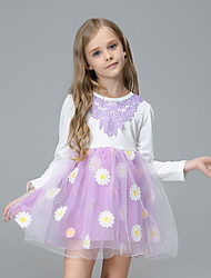 cheap -Kids Toddler Girls' Sweet Cute Floral Mesh Drawstring Long Sleeve Above Knee Dress Purple
