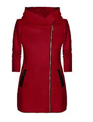 abordables -Femme Quotidien / Sortie Printemps / Automne hiver Normal Manteau, Couleur Pleine Capuche Manches Longues Polyester Noir / Gris Clair / Rouge