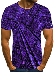 cheap -Men's Daily Sports Basic / Exaggerated T-shirt - Color Block / 3D / Tie Dye Black & White, Print Purple