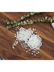 cheap -Imitation Pearl / Lace / Rhinestone Hair Combs with Rhinestone / Imitation Pearl / Flower 1 Piece Wedding Headpiece