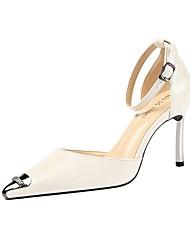 cheap -Women's Heels Stiletto Heel Pointed Toe Buckle PU Minimalism Spring & Summer Black / Camel / Almond / Party & Evening
