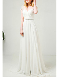 cheap -A-Line Sweetheart Neckline Sweep / Brush Train Tulle Cap Sleeve Simple Backless Wedding Dresses with Beading 2020