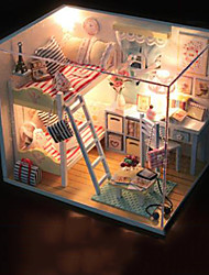 cheap -Dollhouse Pretend Play Model Building Kit Novelty House Wooden Plastic 1 pcs Toy Gift