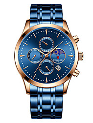 cheap -REWARD Men's Steel Band Watches Quartz Stylish Stainless Steel Black / Blue / Silver 30 m Water Resistant / Waterproof Calendar / date / day Stopwatch Analog Fashion - Black Golden Blue One Year