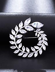 abordables -Femme Zircon Broche Classique Forme de Feuille Doux Elégant Broche Bijoux Blanche Pour Mariage Soirée