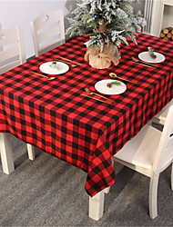 cheap -Red Black Checkered Plaid Geometric Table Accessories Decor Tablecloth Protector Tableclothes Table Covers Men Table Cloths