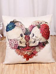 cheap -1 pcs Linen Pillow Cover, Holiday Skull Cartoon Halloween Throw Pillow