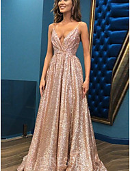 cheap -A-Line Spaghetti Strap Sweep / Brush Train Sequined Sparkle & Shine Prom Dress 2020 with Sequin