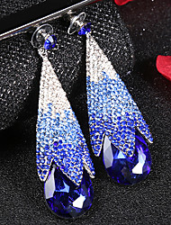 cheap -Women's Clear Blue Brown Cubic Zirconia Drop Earrings Briolette Drop Romantic Fashion Elegant Earrings Jewelry White and Sliver / White / Champagne For Wedding Engagement Promise 1 Pair