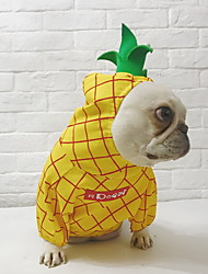 cheap -Dog Jumpsuit Winter Dog Clothes Yellow Costume Polyster Plaid / Check Fruit Cosplay Christmas S L