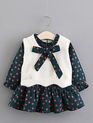 abordables -bébé Fille Basique Fleur Manches Longues Robe Vert